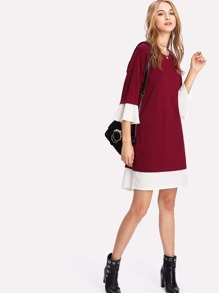 Contrast Cuff And Hem Dress