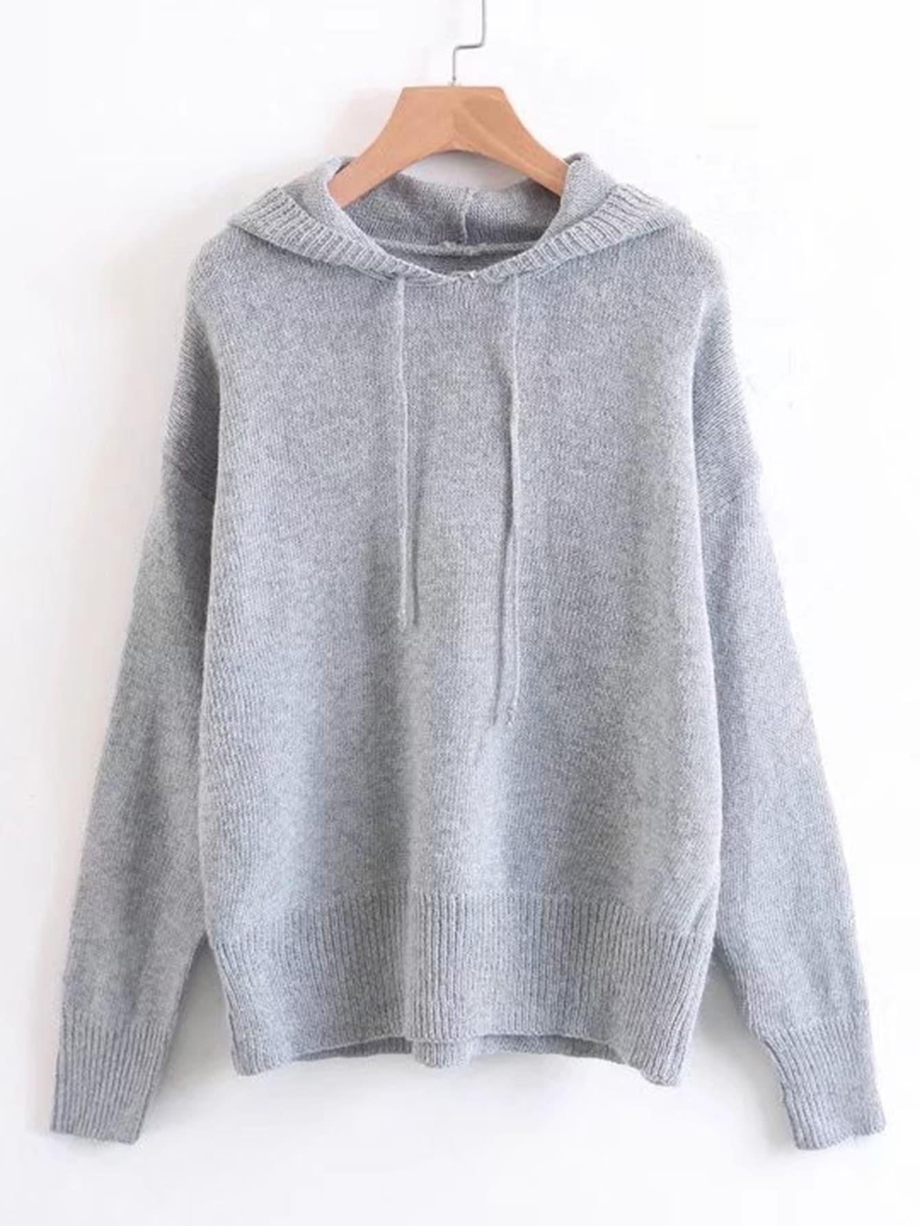 Rib Trim Hooded Sweater