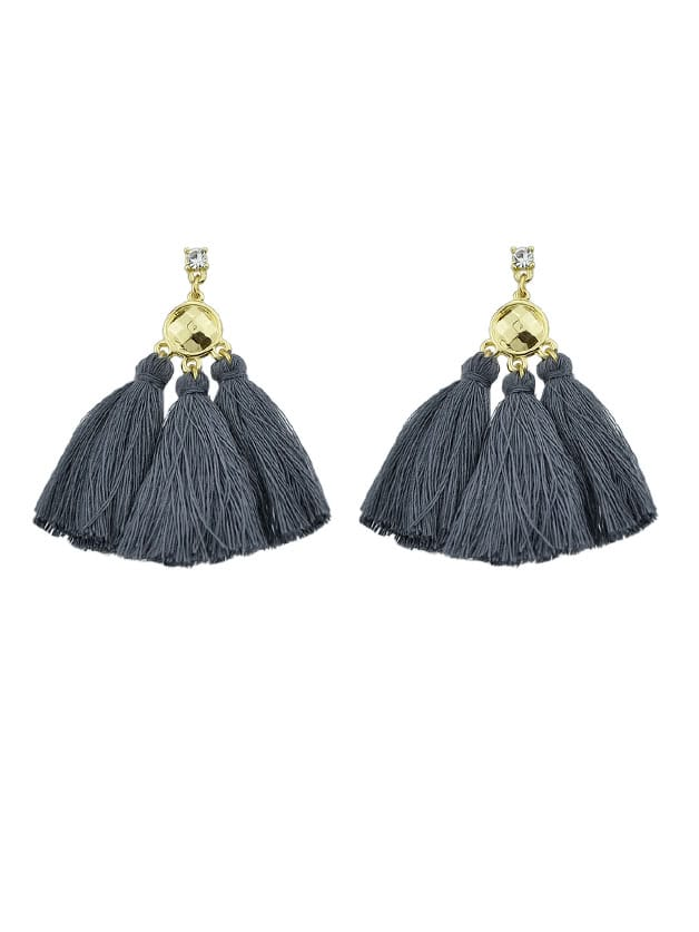 Gray Bohemian Style Ethnic Tassel Statement Drop Earrings ethnic hollow out statement drop earrings