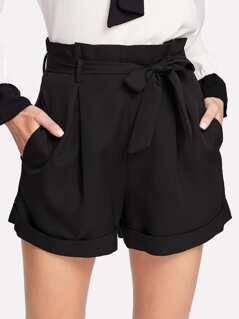 Self Belted Rolled Hem Shorts