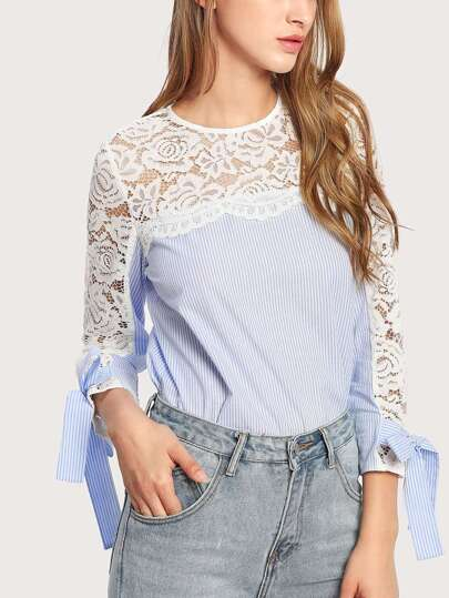 Lace Yoke Bow Tie Cuff Striped Blouse