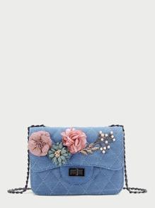 Модная джинсовая сумка с цветочной аппликацией