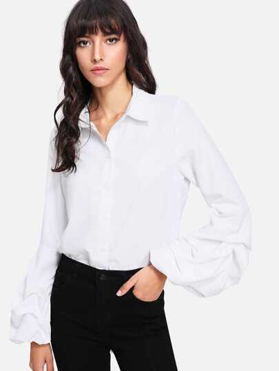 Lantern Gathered Sleeve Curved Hem Shirt