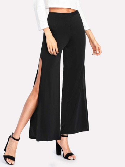Slit Side Wide Leg Pants