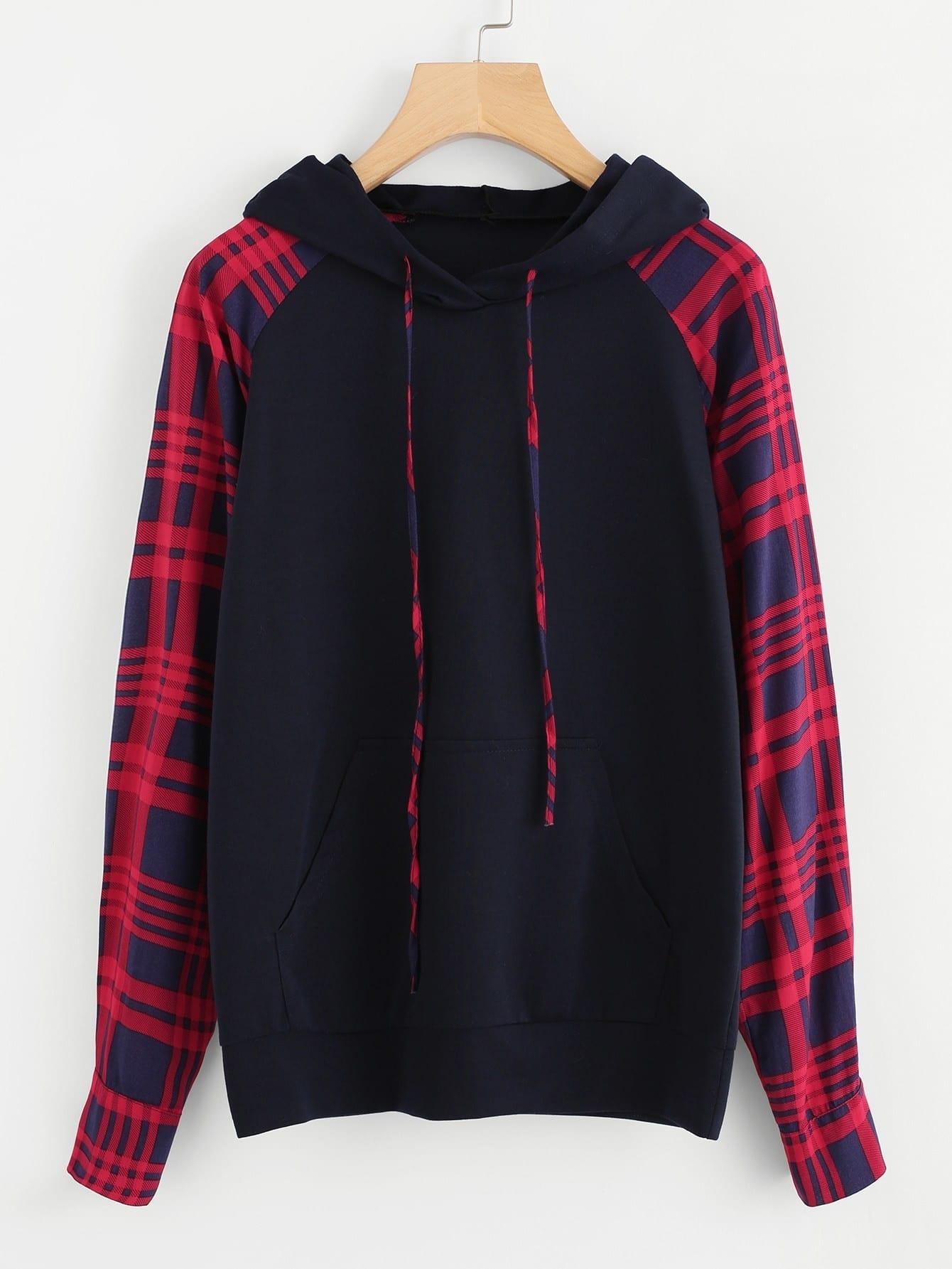 Купить Контрастный модный свитшот с карманом и капюшоном, null, SheIn