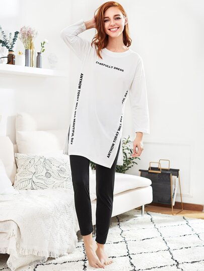 Slit Side Long Pajama Set