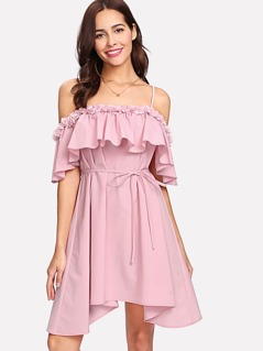 Flower Applique Cold Shoulder Asymmetric Dress