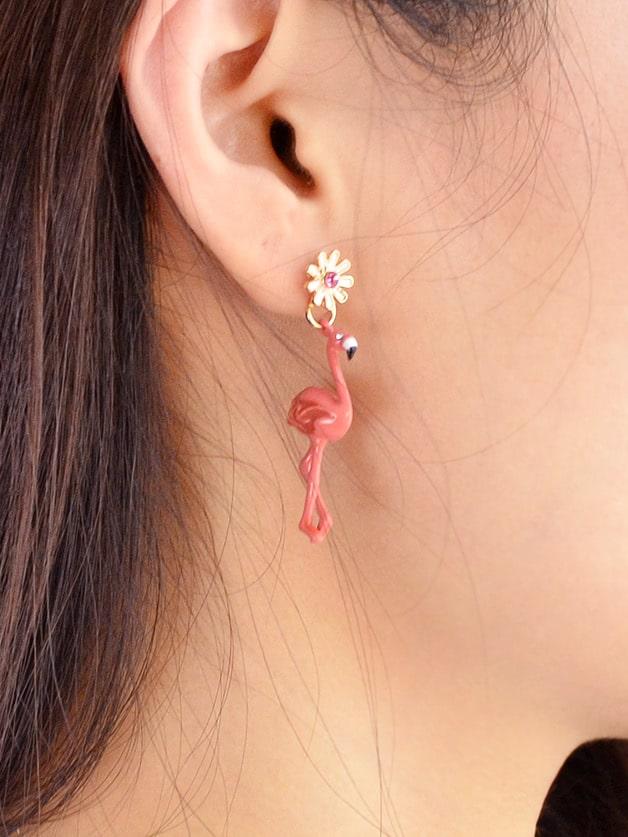 Red Enamel Flamingo Party Dangle Earrings For Women цена и фото