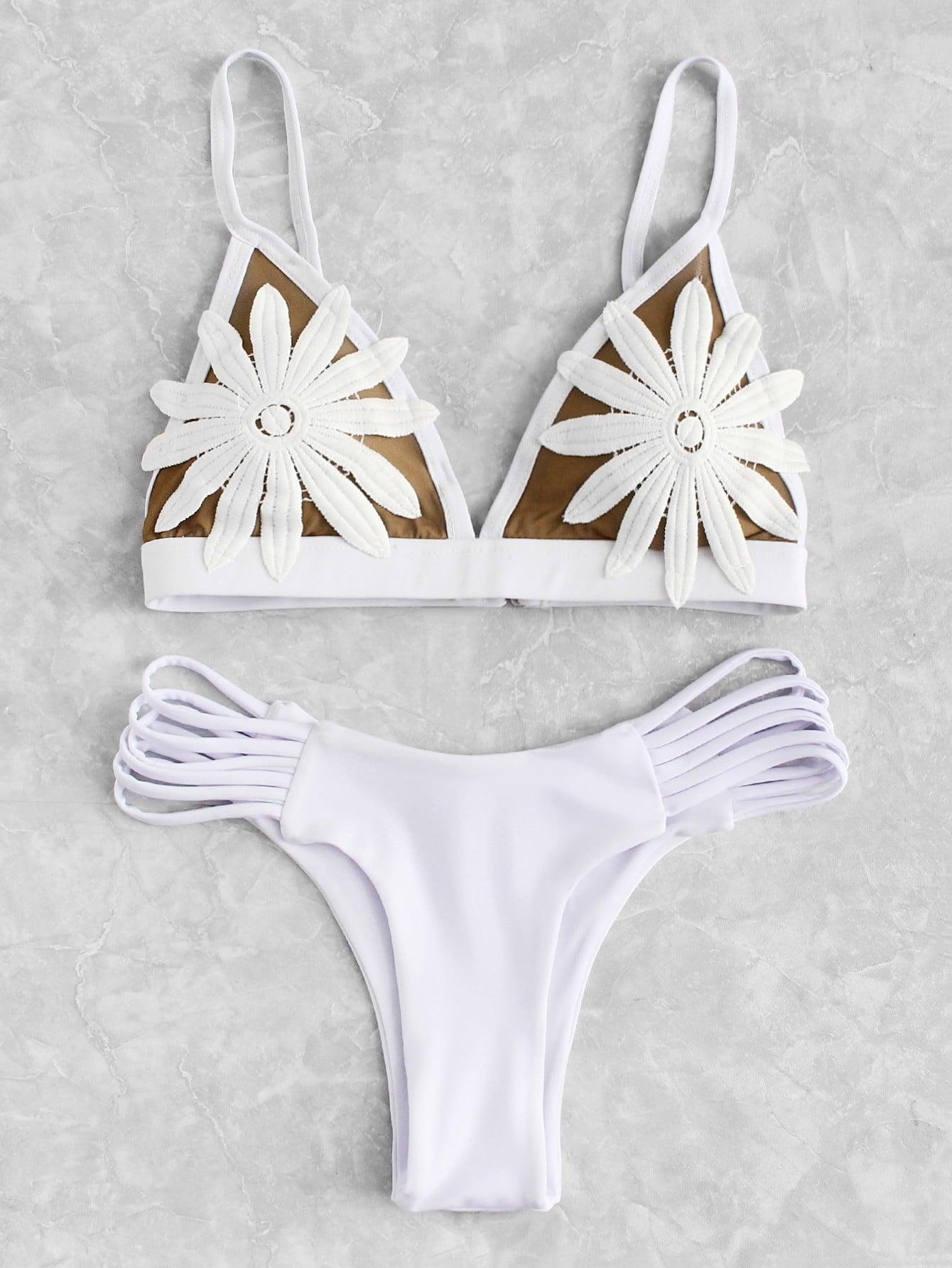 Flower Applique Ladder Cut Out Bikini Set mink keer black xl