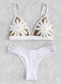 Set di bikini con applique di fiore