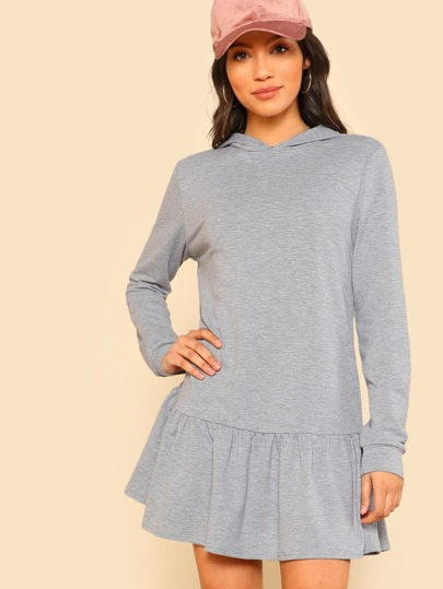 Ruffle Hem Heather Knit Hoodie Dress