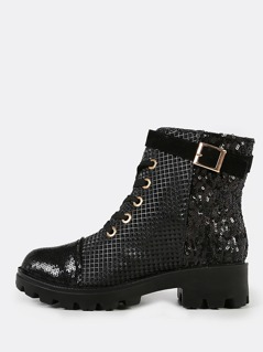 Prismatic and Sequin Military Boots BLACK