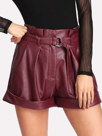 Self Belt Wide Leg Faux Leather Shorts