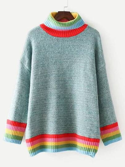Striped Trim Turtleneck Oversized Sweater