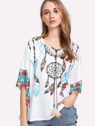 Beading Tie Neck Tribal Print Poncho Top