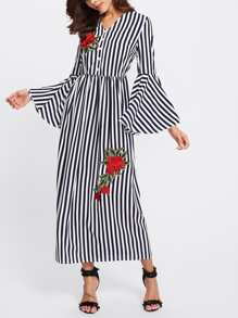 Rose Applique Trumpet Sleeve Striped Hijab Long Dress