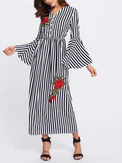 Rose Applique Trumpet Sleeve Striped Hijab Long Dress