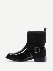 Side Buckle Patent Leather Sock Boots