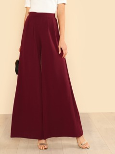 High Rise Pleated Front Pants BURGUNDY