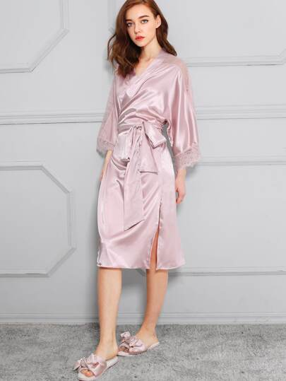 Eyelash Lace Panel Slit Side Satin Robe