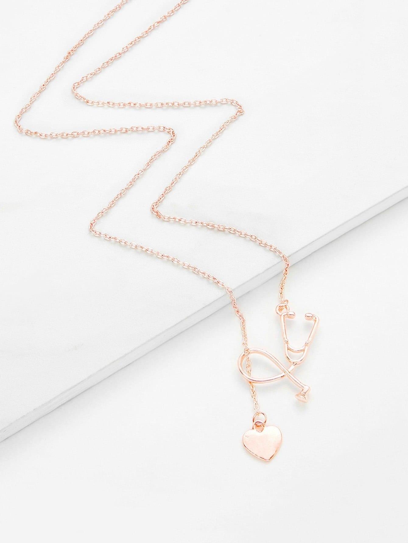 Heart Detail Pendant Link Necklace