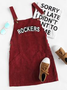 Letter Embroidered Corduroy Overall Dress