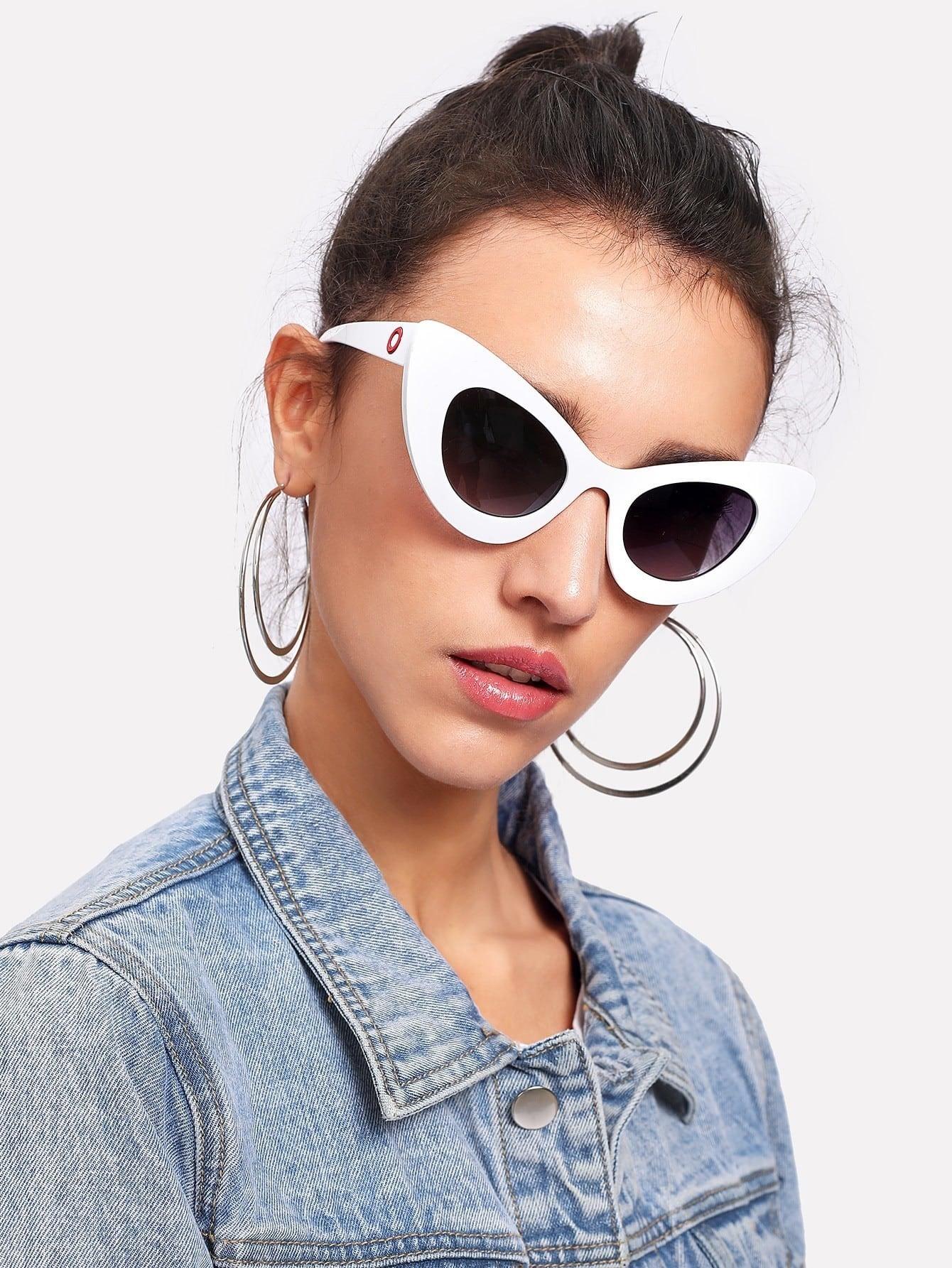 Colorblock Cat Eye Sunglasses cat eye glasses tinize 2015 tr90 5832