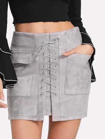 Dual Pocket Criss Cross Front Skirt