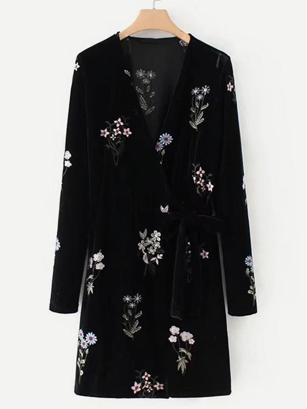 Embroidered Flower Self Tie Velvet Dress