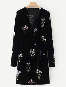 Embroidered Flower Self Tie Velvet Dress