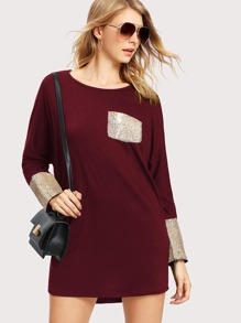 Contrast Sequin Tee Dress