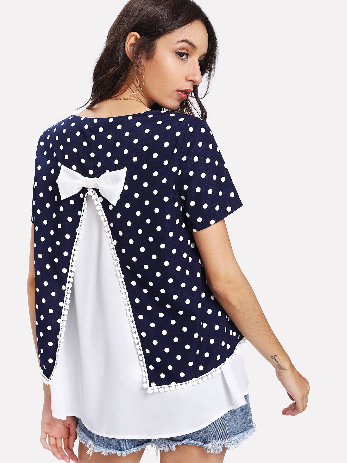 Polka Dot Bow Detail Back 2 In 1 Top школьный автобус b dot