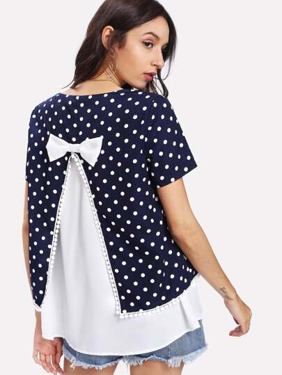 Polka Dot Bow Detail Back 2 In 1 Top