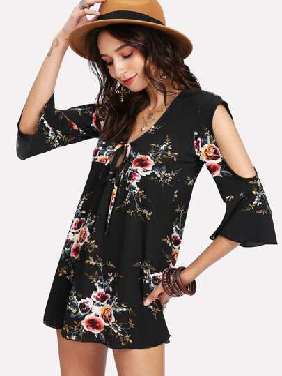 Flower Print Tie Neck Dress