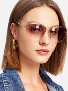 Rimless Tinted Lens Sunglasses