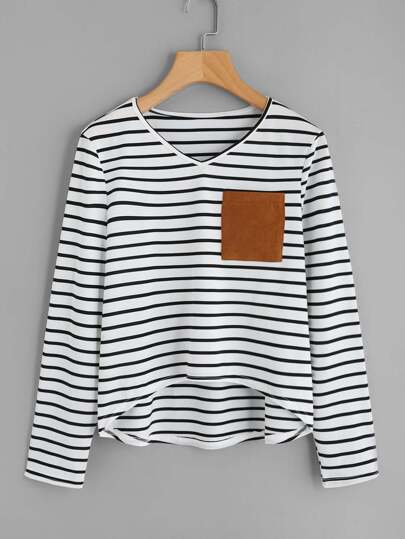 Striped Elbow Patch Pocket Front Tee