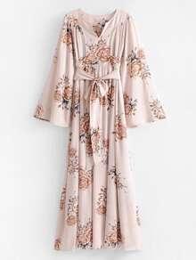 Self Tie Floral Kimono Maxi Dress