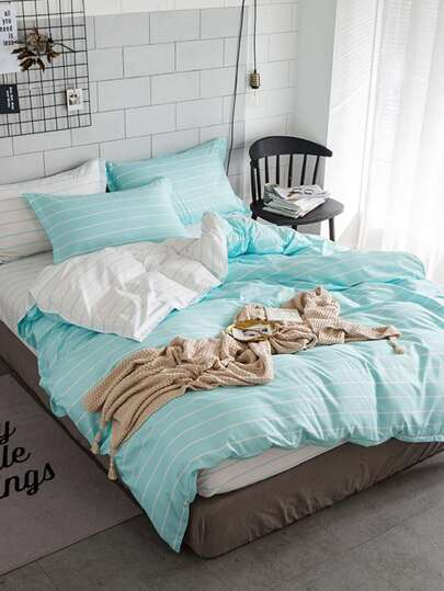 1.0m 3Pcs Pencil Striped Duvet Cover Set