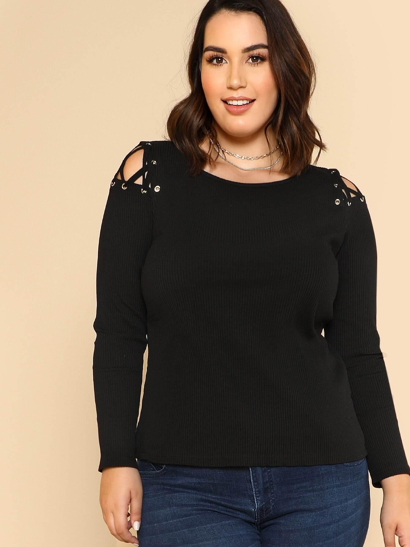 Cutout Crisscross Shoulder Rib Knit T-shirt tee171127706