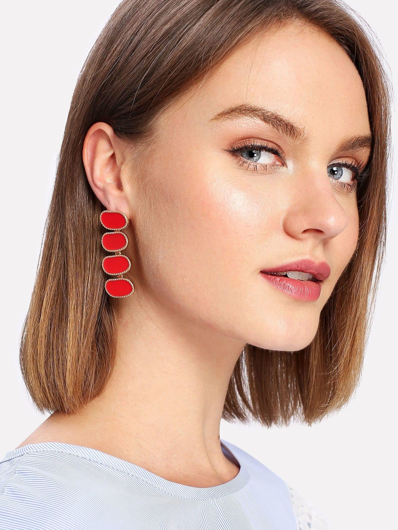 Contrast Drop Earrings contrast rhinestone drop earrings