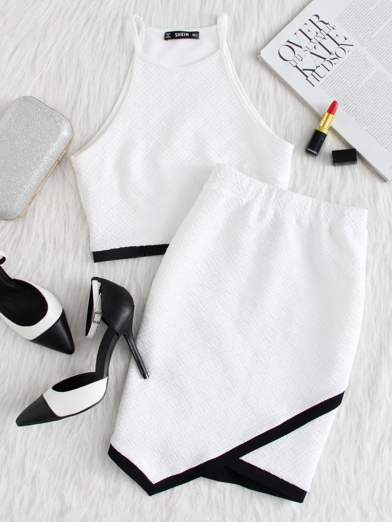 Contrast Binding Hem Textured Top And Overlap Skirt Set ornate print textured skirt