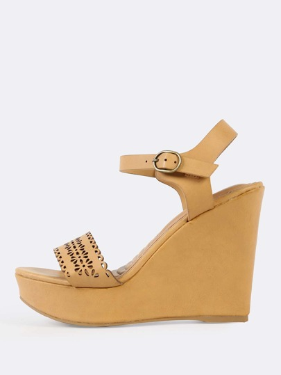 Floral Cutout Wedges NATURAL