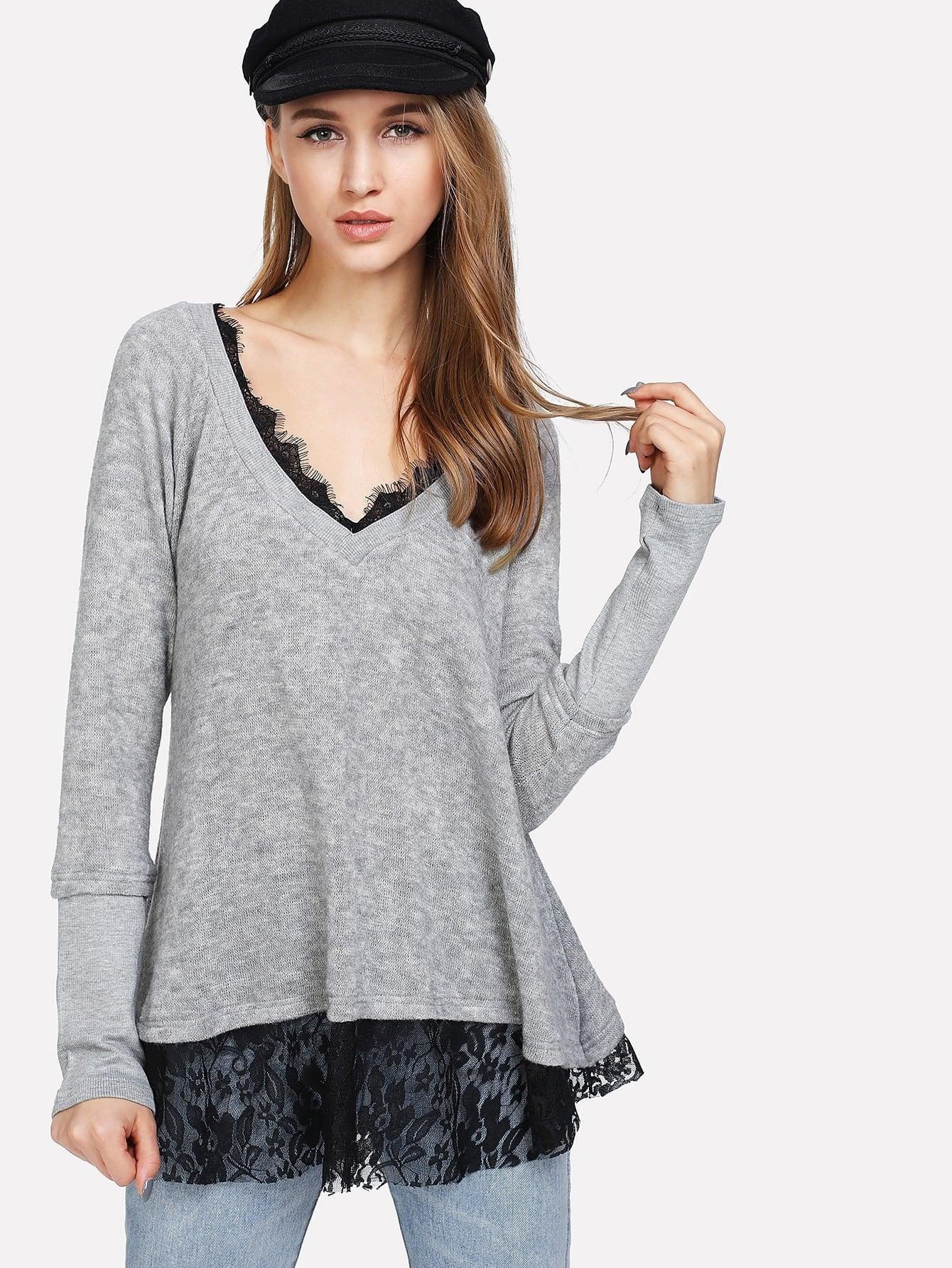 Lace Hem Raglan Sleeve Marled Knit Tee raglan sleeve marled knit dress
