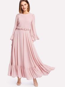 Ruffle Cuff And Hem Flowy Dress