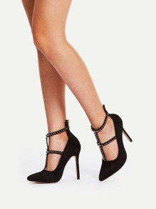 Studded Strap Pointed Toe Stiletto Heels