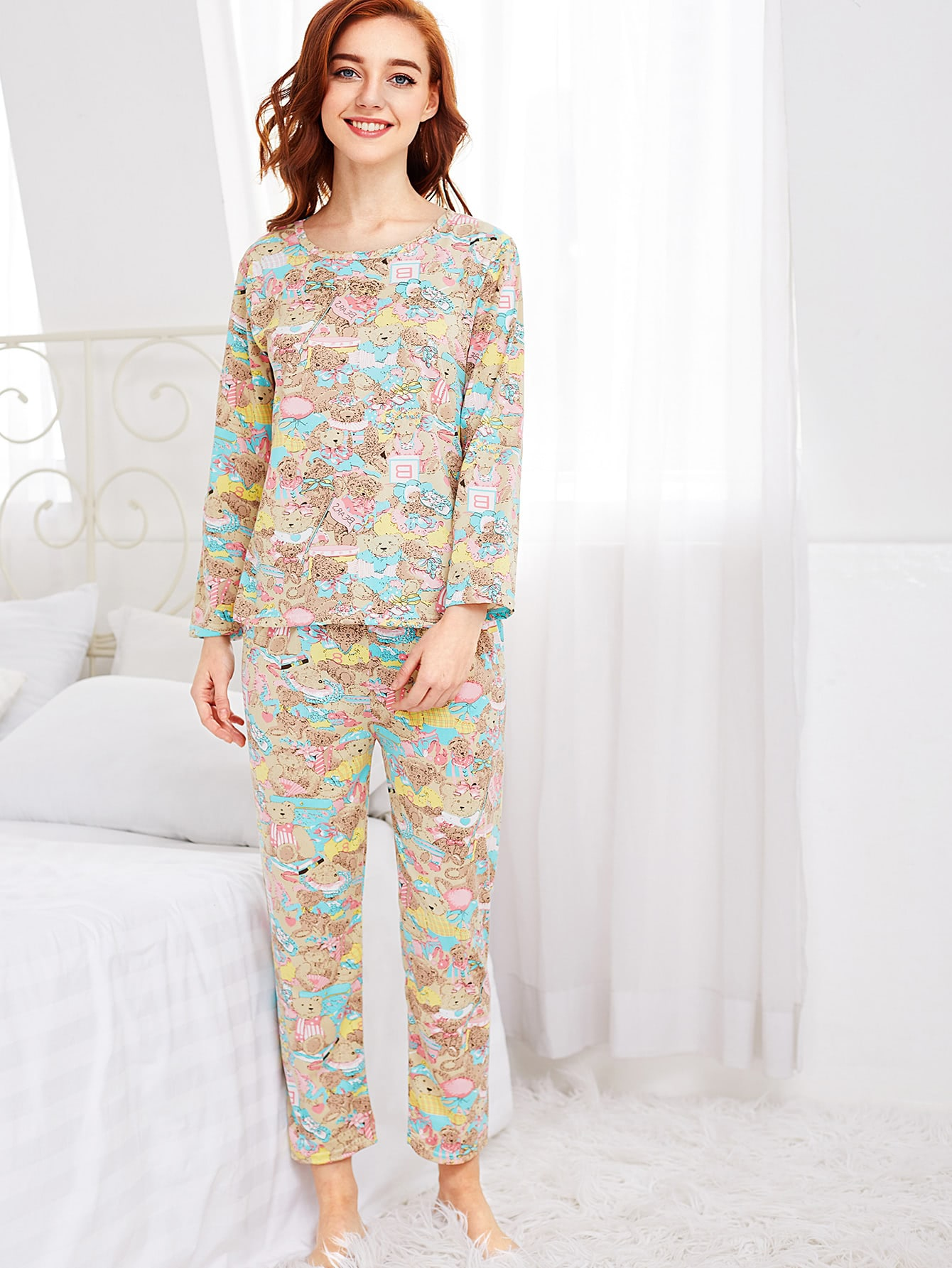 Image of All Over Cartoon Bear Print Tee & Pants Pj Set
