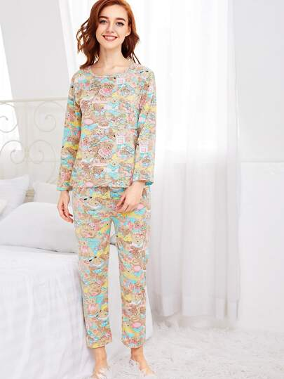 All Over Cartoon Bear Print Tee & Pants Pj Set