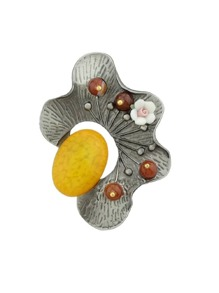 Yellow Vintage Style Gunblack Resin Beads Flower Brooches