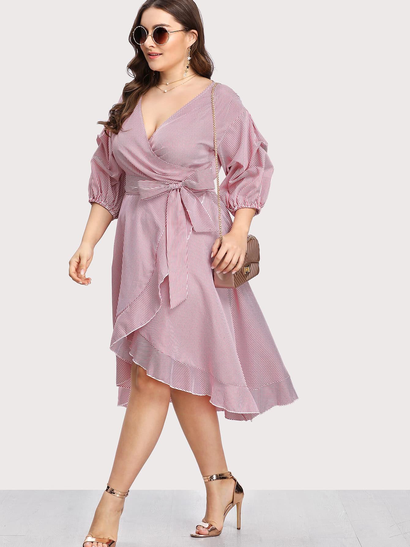 Lantern Sleeve Ruffle Trim Pinstripe Dress care of you f30048