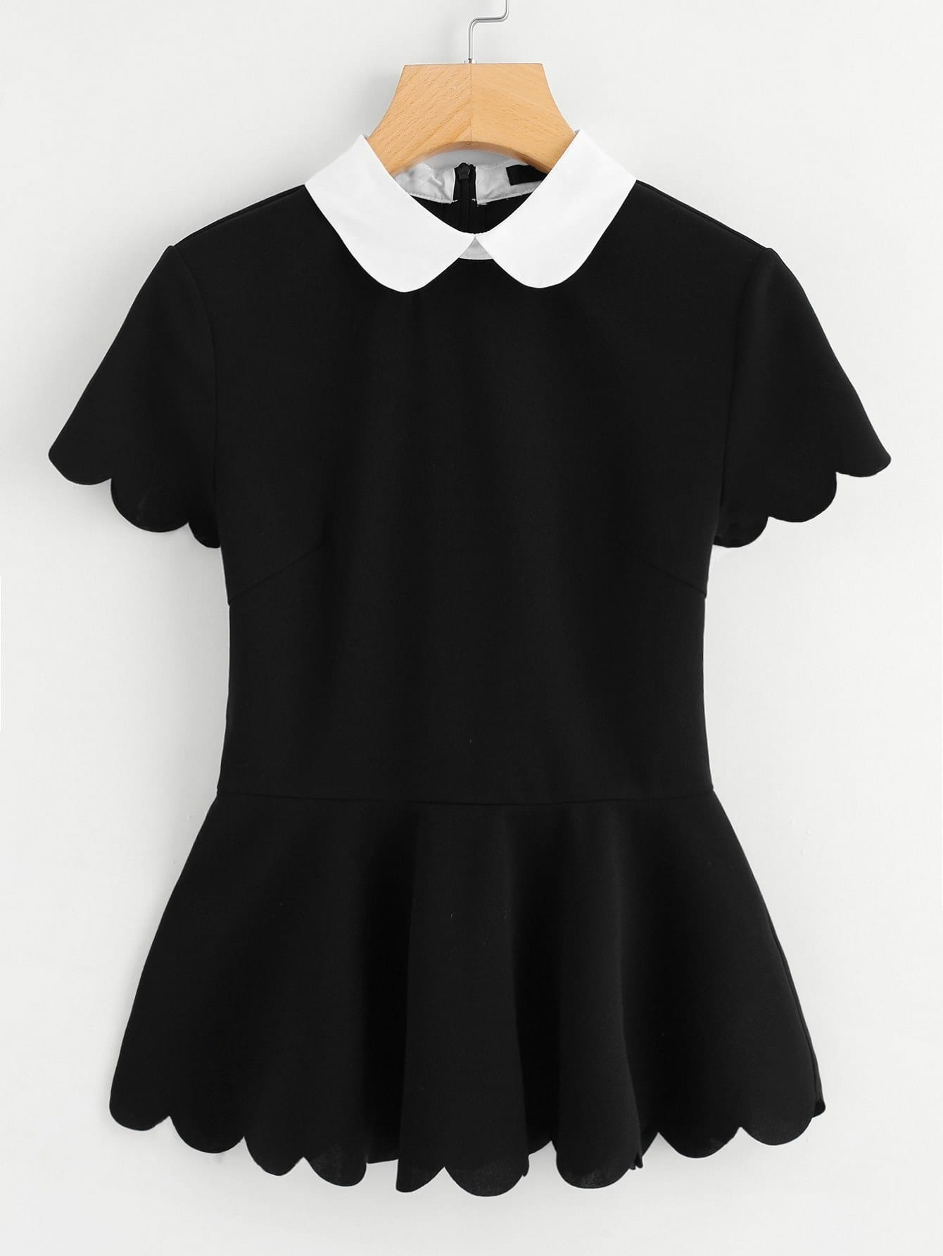 Contrast Peter Pan Collar Scallop Peplum Top contrast collar grid peplum top